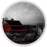 Red Barn On The Farm And Lightning Thunderstorm Bwsc Round Beach Towel by James BO  Insogna