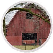 Red Barn Series Picture C Round Beach Towel