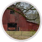 Red Barn Series Picture E Round Beach Towel