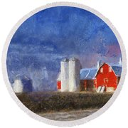 Red Barn With Silos Photo Art 02 Round Beach Towel