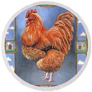 Red Baron Rooster Round Beach Towel