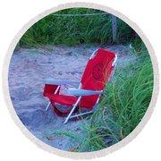 Red Beach Chair Round Beach Towel