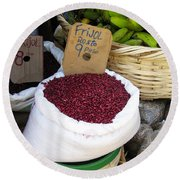 Red Beans At Nicaragua Market Round Beach Towel