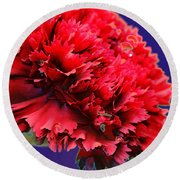 Red Beauty Carnation Round Beach Towel