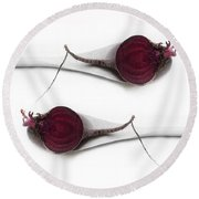 Red Beets Round Beach Towel