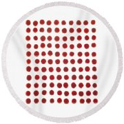 Red Berries In A Grid Round Beach Towel