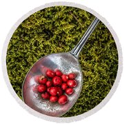 Red Berries Silver Spoon Moss Round Beach Towel