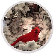Red Bird In A Snow Covered Tree Round Beach Towel