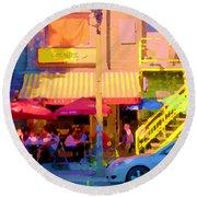 Red Bistro Umbrellas Cafe Cote Soleil Rue St Denis Yellow Staircase Montreal Scenes Carole Spandau Round Beach Towel