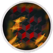 Red Black Blocks Abstract Round Beach Towel
