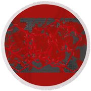 Red Black White Expressions Scramble  Black Red Round Beach Towel
