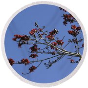 Red Blossoms Round Beach Towel