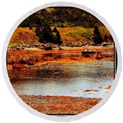 Red Boat At Low Tide Triptych Round Beach Towel