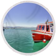 Red Boat At Nafplion Harbour Round Beach Towel
