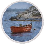 Red Boat In Peggy's Cove Round Beach Towel