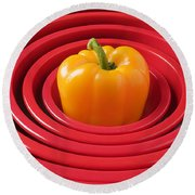 Red Bowls And Pepper Round Beach Towel