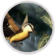 Red Breasted Nuthatch Eating Yellow Jacket Round Beach Towel