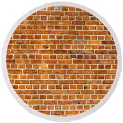Red Brick Wall Texture Round Beach Towel