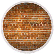 Red Brick Wall Texture With Vignette Round Beach Towel