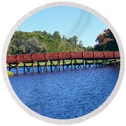 Red Bridge Round Beach Towel