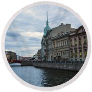 Red Bridge - St. Petersburg - Russia Round Beach Towel