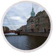Red Bridge View - St. Petersburg - Russia Round Beach Towel