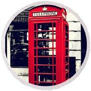 Red British Telephone Booth Round Beach Towel