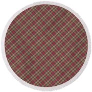 Red Brown And Green Diagonal Plaid Pattern Fabric Background Round Beach Towel