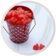 Red Bucket Of Hearts Round Beach Towel