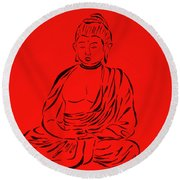 Red Buddha Round Beach Towel