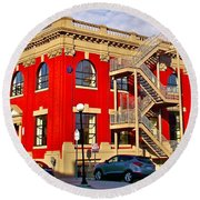 Red Building On Water Street In Saint John's-nl Round Beach Towel