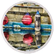 Red Buoy Reflections Of Alaska Round Beach Towel