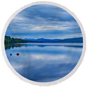 Red Buoys On Loch Rannoch Round Beach Towel