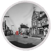 Red Bus And Red Telephone Box - 1960's    Ref-124-2 Round Beach Towel