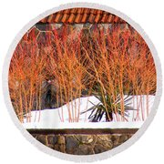 Red Bushes And Rock Wall Round Beach Towel