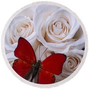 Red Butterfly Among White Roses Round Beach Towel