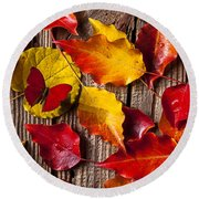 Red Butterfly In Autumn Leaves Round Beach Towel