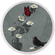Red Butterfly In The Eyes Of The Blackbird Round Beach Towel