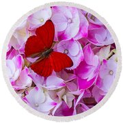 Red Butterfly On Hydrangea Round Beach Towel