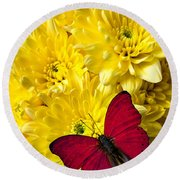 Red Butterfly On Poms Round Beach Towel