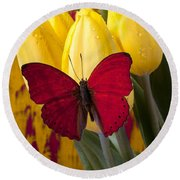 Red Butterfly Resting On Tulips Round Beach Towel