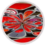 Red Button Orb Round Beach Towel by Jean Noren
