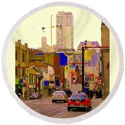 Red Cab On Gerrard Chinatown Morning Toronto City Scape Paintings Canadian Urban Art Carole Spandau Round Beach Towel