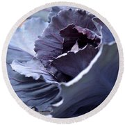 Red Cabbage Abstract Round Beach Towel
