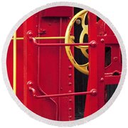 Red Caboose Round Beach Towel