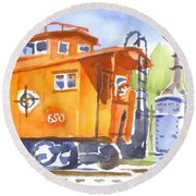 Red Caboose With Signal  Round Beach Towel