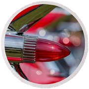 Red Cadillac Fins Round Beach Towel