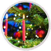 Red Candles In Christmas Tree Round Beach Towel