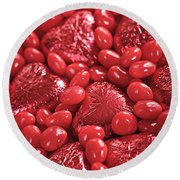 Red Candy Round Beach Towel