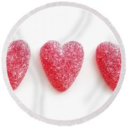 Red Candy Hearts Round Beach Towel